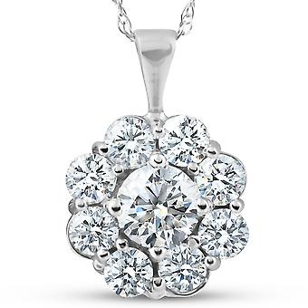 SI 1 Ct Diamond Halo Pendant 14k White Gold EX3 Lab Grown Certified Necklace