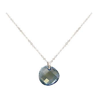 Gemshine ketting Aqua TWIST hanger 925 zilver of goud vergulde SWAROVSKI elementen