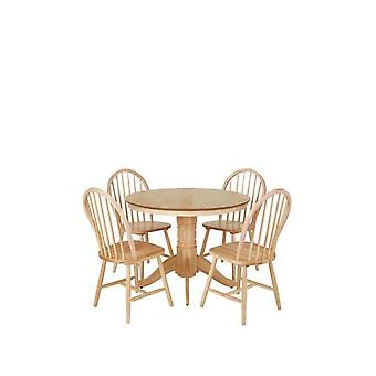 Kentucky 100 cm Round Dining Table + 4 Chairs in Natural RRP £379