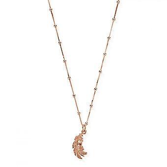 ChloBo RNBB597 Women's Bobble Chain Heart In Feather Necklace