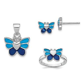 925 Sterling Silver Enamel Butterfly Angel Wings for boys or girls Earrings Ring and Pendant Necklace Set