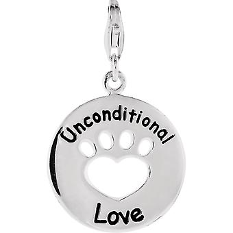 925 Sterling Silver 19.9 Od Polished Heart Pendant Necklace You Back Unconditional Love Paw Charm Jewelry Gifts for Wome