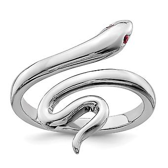925 Sterling Silver Snake With Synthetic Ruby Toe Ring Bijoux Cadeaux pour les femmes