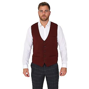 Marc Darcy Kelly Wine Single Breasted Plain Waistcoat