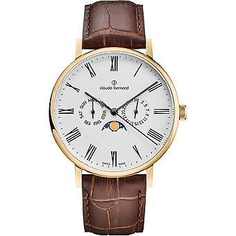 Claude Bernard - Wristwatch - Unisex - Slim line moon phase - 40004 37J BR