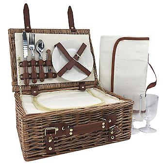 2 Person Classic Wicker Monteret Picnic Basket