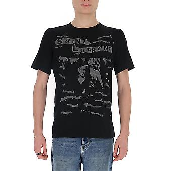 Saint Laurent 601548ybof21073 Men's Black Cotton T-shirt