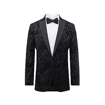 Dobell Mens Black Snake Print Smoking Jacket Regular Fit Contrast Peak Lapel