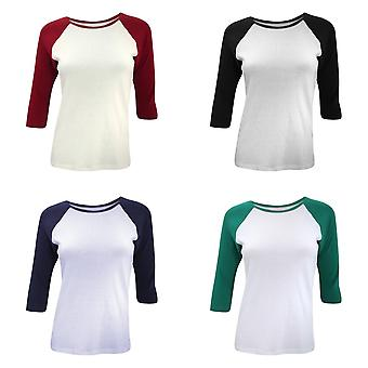 Bella Ladies/Womens manches 3/4 contraste manches longues T-Shirt
