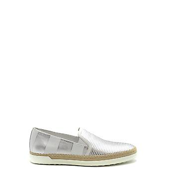 Tod's Ezbc025072 Women's Silver Leather Slip On Sneakers