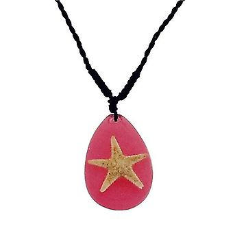The Olivia Collection Nautical Underwater Life Necklace with REAL Starfish Set In Pink Resin