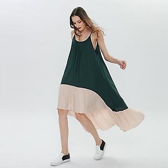 Sleeveless Patchwork Ruffle Beach Dress