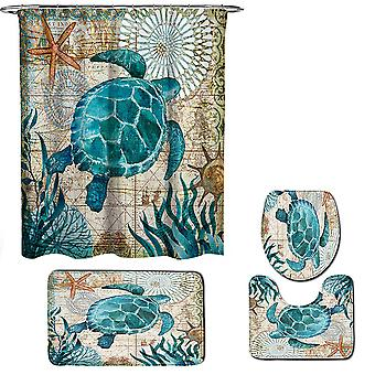 Sea turtle Shower Curtains set 3 Piece