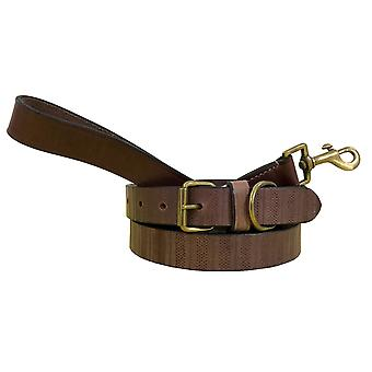 Bradley crompton genuine leather matching pair dog collar and lead set cdkupb197