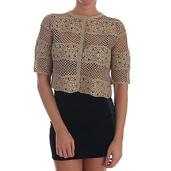 Dolce & Gabbana Gold Cardigan Crochet Knitted Floral Sweater -- TSH1388976