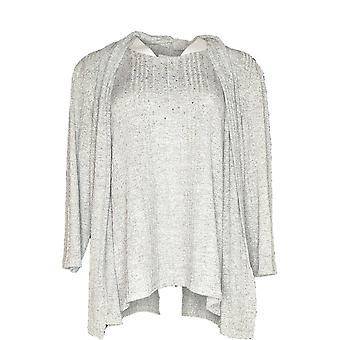 Alfred Dunner Women's Sweater Caridgan With Tank Round Neck Light Gray