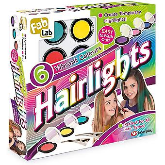 fablab hairlights hair chalk set 6pcs with vibrant colours for ages 8 and above