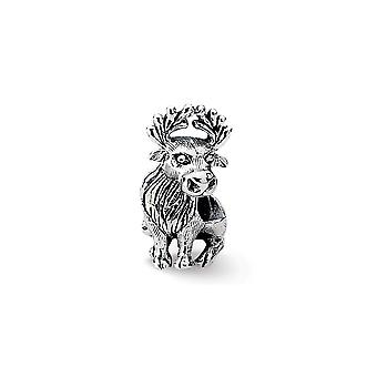 925 Sterling Silver Polished finish Reflections Moose Bead Charm Pendant Necklace Jewelry Gifts for Women