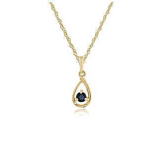 Classic Round Sapphire Pendant Necklace in 9ct Yellow Gold 135P1551039