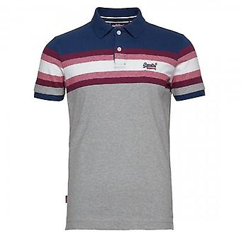 Superdry Malibu Stripe Jersey S/S Polo Blue 2U7