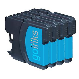 4 Cyan Ink Cartridges to replace Brother LC985C Compatible / non-OEM for Brother DCP & MFC Printers