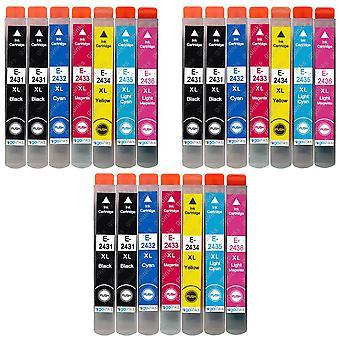 3 Set med 6 + extra svart bläckpatroner för att ersätta Epson T2438+T2431 (24XL-serien) Kompatibel/icke-OEM från Go Inks (21 Bläck)