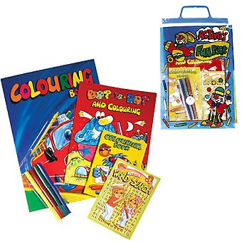 Value Activity Fun Pack for Kids - Contains Colouring & Activity Books & Crayons