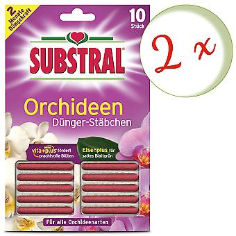 Sparset: 2 x SUBSTRAL® fertilizer rods for orchids, 10 pieces
