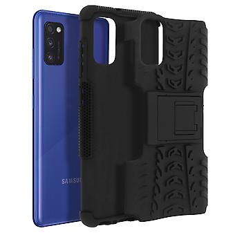 Protective Case Samsung Galaxy A41 Bi-material Shockproof Support Strap Black