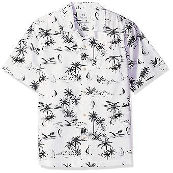 28 Palms Män & apos Monterade 100% Bomull Tropical Hawaiian Shirt, Vit / Svart Scenic ...