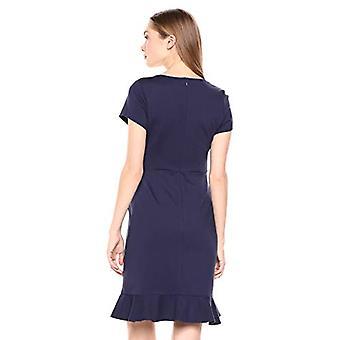 Tavaramerkki - Lark & Ro Women's Short Sleeve Open Crew Neck Ruffled Hem Ponte Shift Dress, Midnight Blue, 6