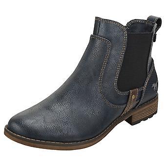 Mustang Side Zip Low Heel Womens Chelsea Boots in Navy