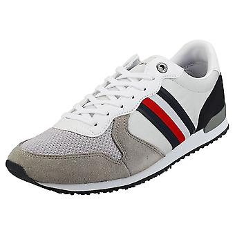 Tommy Hilfiger Iconic Material Mix Runner Mens Casual Trainers in Silver White