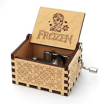 Frozen Antique Carved Musical Box Hand Cranked Wooden Music Box