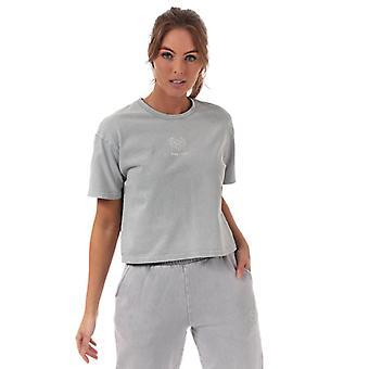 Women's Pink Soda Sport Wash Crop T-Shirt in Grey