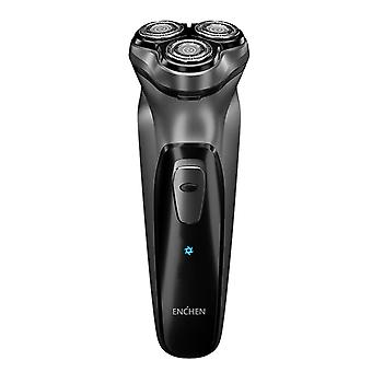 Electric Face Beard Shaver Black Stone Razor- Washable Usb Type C Rechargeable For Men