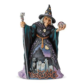 Jim Shore Heartwood Creek Witch With Crystal Ball Statue Figurine
