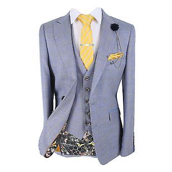 Men's Connor Slim Fit Light Blue Tan Check Tweed Suit