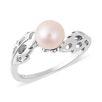 Lattice Feather Fresh Water White Pearl Ring Sterling Silver, 2.563 Ct TJC