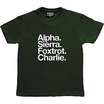 Accrington Stanley FC: Alpha Sierra Foxtrot Charlie Racing Green Kids' T-Shirt