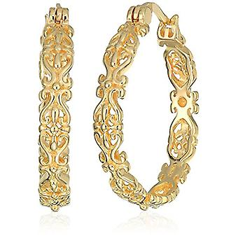 18k Yellow Gold Plated Sterling Silver Filigree Round, Yellow, Size One Size