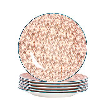 Nicola Spring 6 Piece Geometric Patterned Dinner Plate Set - Large Porcelain Dining Plates - Coral - 26.5cm