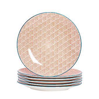 نيكولا ربيع 6 قطعة هندسية لوح عشاء منقوشة مجموعة - لوحات كبيرة من الخزف تناول الطعام - المرجان - 26.5cm
