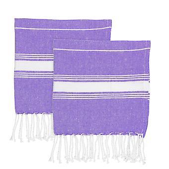 Nicola Spring Children's Turkse katoenen handdoek set | Strandbad zwemmen | Hammam Peshtemal Fouta Style - Paars - Pack van 2