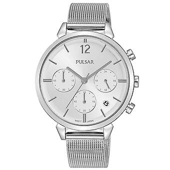Pulsar Ladies Stainless Steel Chronongraph On Silver Mesh Bracelet 50M Watch