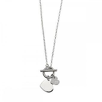 Beginnings Sterling Silver N4086C Cz Pve Double T Bar Necklace