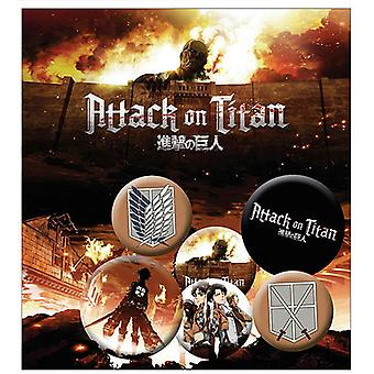 Attack on Titan Buttonset Characters 4 Buttons (25mm) + 2 Buttons (32mm) aus Metall, in Blisterverpackung.