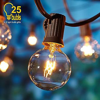 G40 Bulb Globe Solar String Lights With Clear Backyard Patio Lights Vintage