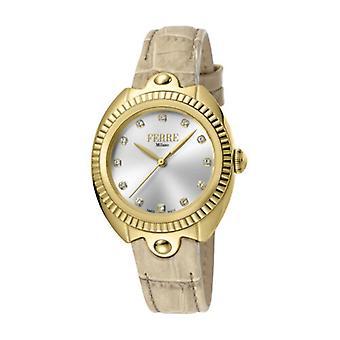 Ferre Milano Women's FM1L088L0011 Gold IP Steel Ivory Leather Wristwatch