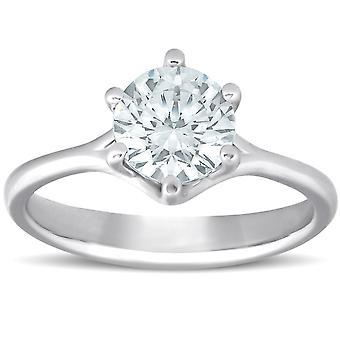 1 Ct جولة الماس المشاركة ستة شق سوليتير حلقة 14k الذهب الأبيض تعزيز
